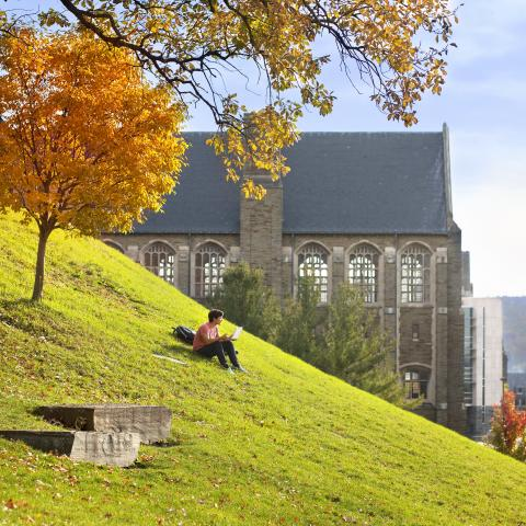 international student studying on Libe Slope