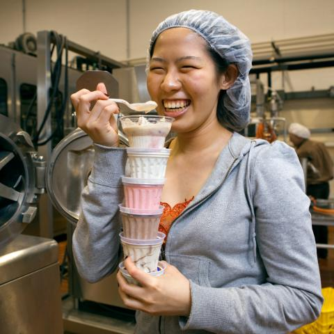 international student worker at Cornell Dairy, tasting ice cream